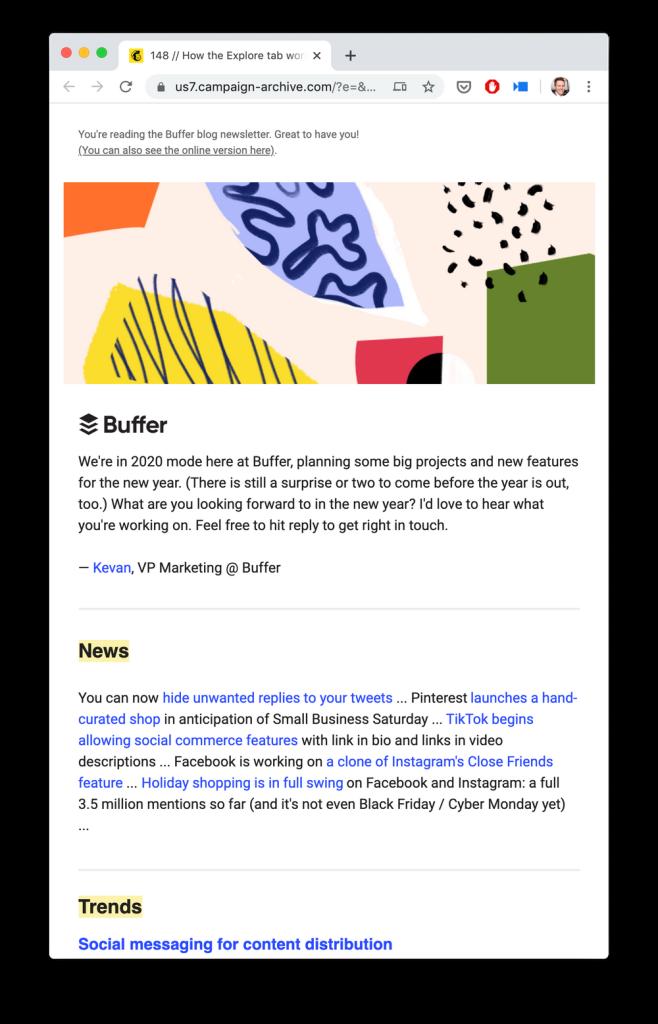 Buffer social media newsletter