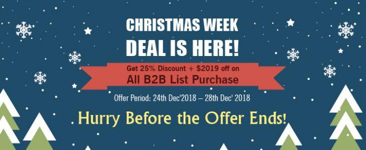 Christmas Treat: Thomson Data Announces 25% Discount Plus $2019 off on B2B Lists